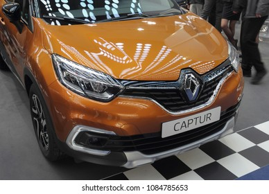 Serbia; Belgrade; March 24, 2018; Renault Captur front; the 54th International Motor Show in Belgrade from 22th to 28th March, 2018.