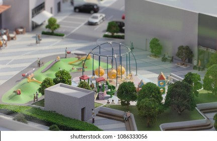 Serbia; Belgrade; March 24, 2018; Miniature model of playground in the city; Belgrade Waterfront