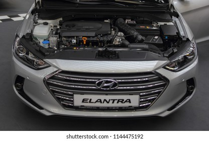 Serbia; Belgrade; March 24, 2018; Hyundai Elantra GLS CRDI with opened hood; the 54th International Motor Show in Belgrade from 22th to 28th March, 2018.