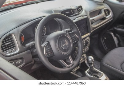 Serbia; Belgrade; March 24, 2018; Jeep Renegade interior; the 54th International Motor Show in Belgrade from 22th to 28th March, 2018.
