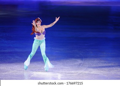 SERBIA, BELGRADE - NOVEMBER 1, 2013: Disney character Little Mermaid at Disney on Ice show / cartoon hero