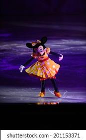 SERBIA, BELGRADE - NOVEMBER 1, 2013: Disney characters Minnie Mouse skating at Disney on Ice show / cartoon heroes