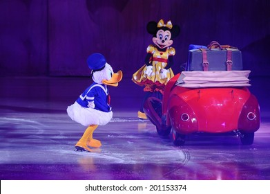 SERBIA, BELGRADE - NOVEMBER 1, 2013: Disney characters at Disney on Ice show / cartoon heroes