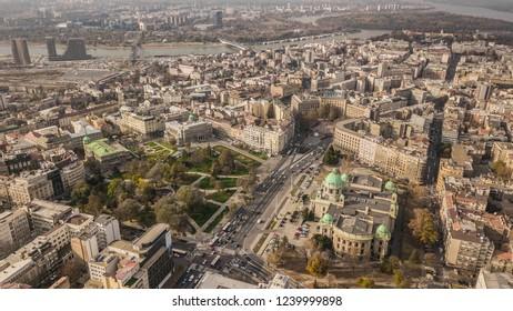 Serbia, Belgrade. November 2018 - City center of Belgrade. Aerial view