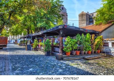 SERBIA, BELGRADE - SEPTEMBER 1: Restaurant Three Hats in Skadarska Street. on September 1, 2017 in Belgrade. Old restaurants, cobblestones and lots of greenery. HDR Image.