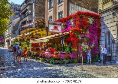 SERBIA, BELGRADE - SEPTEMBER 1: Restaurant Hat my decorative flower arrangements on September 1, 2017 in Belgrade. HDR Image.