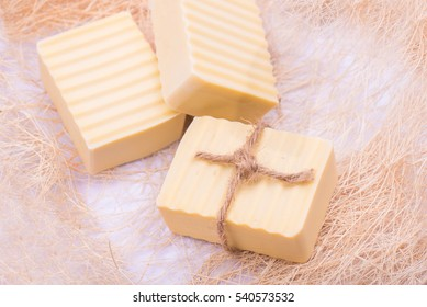 Serbia was a dried soap isolated over a white background.