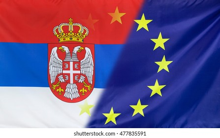 Serbia and European Union relations concept with diagonally merged real fabric flags