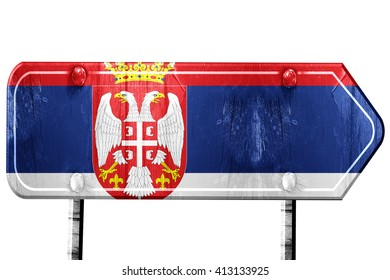 Serbia flag, 3D rendering, road sign on white background