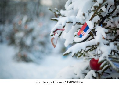 Serbian christmas images stock photos vectors shutterstock serbia flag christmas background outdoor christmas tree covered with snow and decorations and serbian m4hsunfo