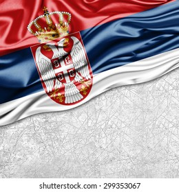 Serbia  flag of silk with copyspace for your text or images and wall background