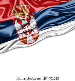 Serbia flag of silk and white background