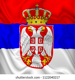 Serbia Flag Waving Digital Silk Satin Fabric