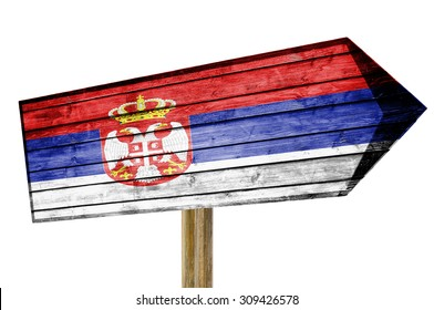 Serbia Flag wooden sign isolated on white