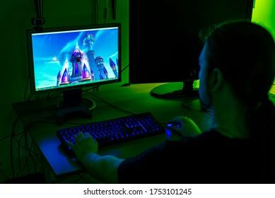 SERBIA, NOVI SAD - JUN 7, 2020: A boy is playing a video game, the World of Warcraft
