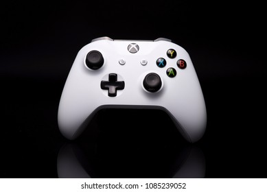 SERBIA, NOVI SAD, MAY 2018. Xbox one controller against black background with reflection. May 2018.