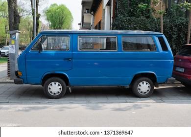 SERBIA, NOVI-SAD - APRIL 10, 2019:  vintage old  dark blue car Volkswagen T3 on the streets of the Novi-sad. Retro car.