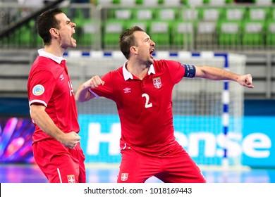 Serbia players celebrate after scoring a goal during the Serbia vs. Kazakhstan UEFA European Futsal Championship 2018 match at Arena Stozice in Ljubljana, Slovenia on February 5, 2018.