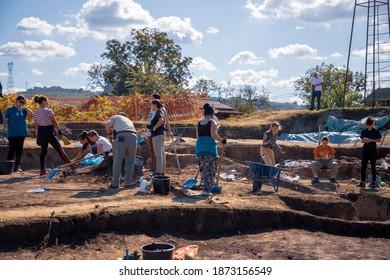 Vinča, Serbia, Sep 27, 2019: Archaeologists working on excavations