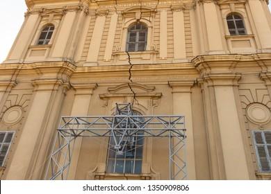 Serbia Subotica March 2019. church facade St Teresa of Avila in Subotica cracked facade cathedral entrance