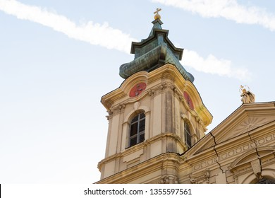 Serbia Subotica March 2019. Tower of the Cathedral of Saint Theresa of Avila close up main sight of the city