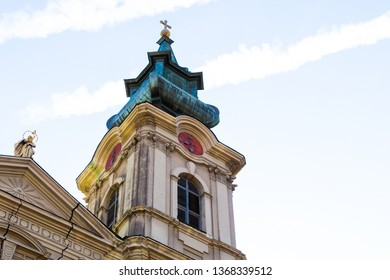 Serbia Subotica March 2019. Tower high green roof of the Catholic Church Cathedral of St. Teresa of Avila