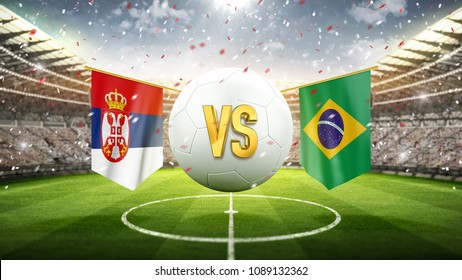 Serbia vs Brazil. Soccer concept. White soccer ball with the flag in the stadium, 2018. 3d render