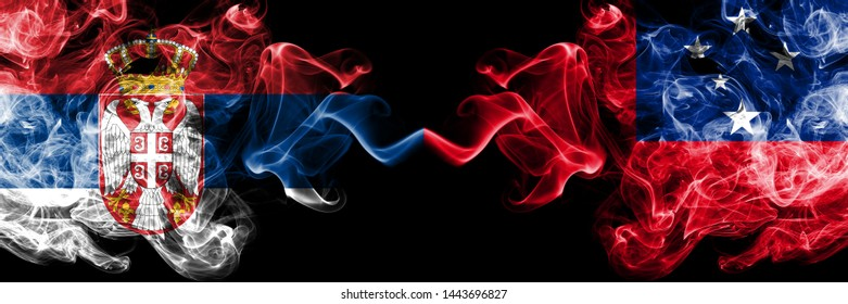 Serbia vs Samoa, Samoan smoky mystic flags placed side by side. Thick colored silky smokes combination of Serbian and Samoa, Samoan flag