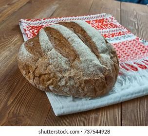 Serbian Balkan Pogacha Bread -  white bread that Serbians, Croatians, Macedonians and other Balkans, Turks and Hungarians