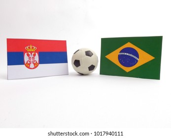 Serbian and Brazilian flag with football ball isloated on white background