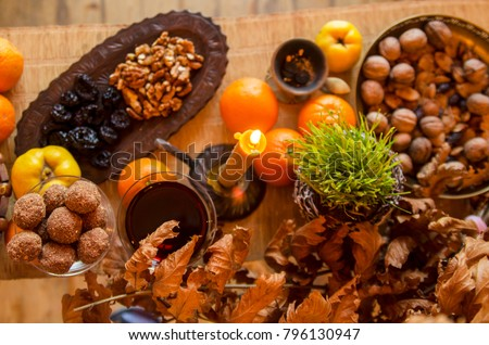 serbian christmas eve food decoration with oak branch and candle above view on slavic custom - When Is Serbian Christmas