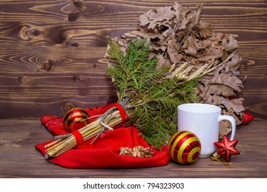 serbian christmas badnjak yule log decoration with a cup - When Is Serbian Christmas