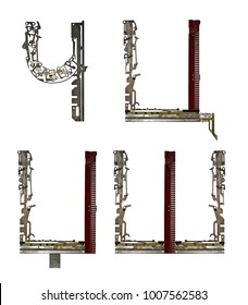 Serbian Cyrillic alphabet  letters `?, C, Dž, Š` , assembled from metallic parts