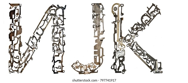 Serbian Cyrillic alphabet,  letters `?, J, K` Latin `I, J, K`, assembled from metallic parts, isolated on white