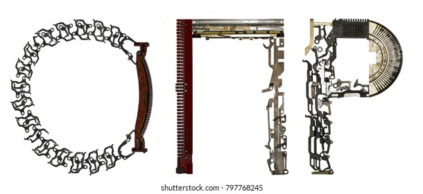 Serbian Cyrillic alphabet,  letters `O, R, P` (Latin `O,P,R), assembled from metallic parts, isolated on white
