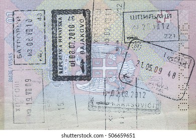 SERBIAN PASSPORT PAGES WITH STAMPS;  TAKEN ON THE PRIVATE PROPERTY ON THE 4 TH OF AUGUST 2013.