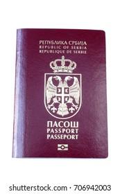 Serbian passport at the white background