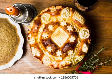 Serbian slava bread baked and decorated in traditional style