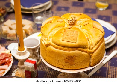 Serbian traditional pastry bread cake for name-day celebration