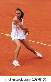 Serbia's Jelena Jankovic plays a quarterfinal match at Susan Lenglen court of Roland Garros. French Open tennis tournament, Paris, France, 2007.