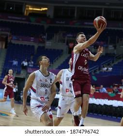 Serbia's national team defeated Latvia 92--82 at the 1 September 2017 Istanbul Fiba Eurobasket 2017 Men's Basketball Championship (L) Vladimir Lucic, Dairis Bertans