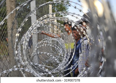 "SERBIA-September 2015: Hungary closed its border with Serbia after the entry into force of the law for anyone who tries to illegally yarn. Migrants in the ""no man's land"" on the border crossing Horgos"