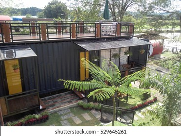 SERDANG, MALAYSIA -DECEMBER 03, 2016: A house made from refurbish shipping container.