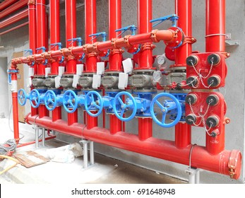 SERDANG, MALAYSIA -JULY 27, 2017: Alarm valve system. It was part of the building fire fighting system which is control and supply water to the sprinkler.