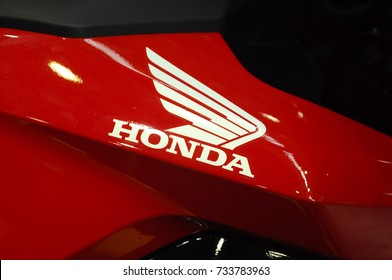 SERDANG, MALAYSIA -JULY 29, 2017: Honda logos at the motorcycle body. Honda is one of the famous motorcycle manufacture in the world.