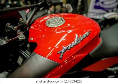 Serdang, Malaysia - July 29, 2018 : Nice details on Modenas motorcycle displayed during Art Of Speed Malaysia 2018 held on MAEPS, Kuala Lumpur,  Malaysia.