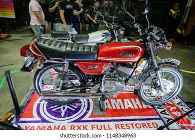 Serdang, Malaysia - July 29, 2018 : A nice full restored classic Yamaha RX series motorcycle on display during Art Of Speed 2018 festival in Malaysia.