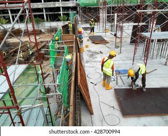 SERDANG, MALAYSIA -MAY 13, 2016: Construction site in progress at Serdang, Malaysia during daytime.