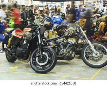 SERDANG, MALAYSIA -MAY 29, 2016: Gathering of custom Harley Davidson Motorcycle in Serdang, Selangor, Malaysia. Modified and restored creatively by owner.