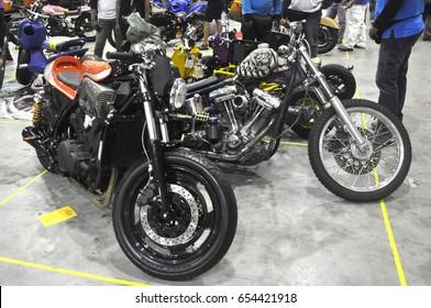 SERDANG, MALAYSIA -MAY 29, 2016: Gathering of custom Harley Davidson Motorcycle in Serdang, Selangor, Malaysia. Modified and restored creatively by owner.